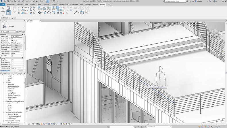 Revit 2019 Split Railing Feature