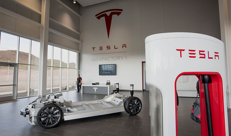Tesla Car Inside Gigafactory 1 in Nevada
