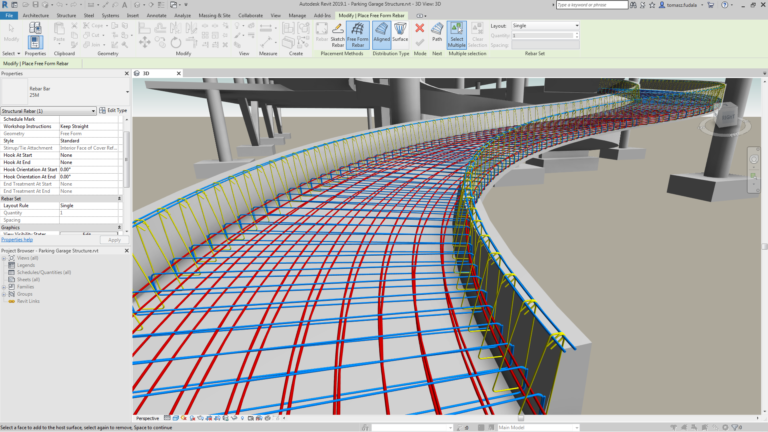 Revit 2019.1 Free Form Rebar Alignment