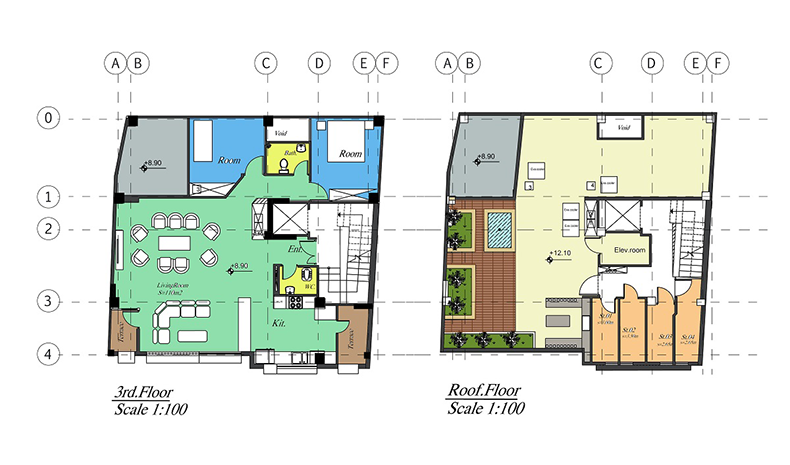 Rouzan Building Interior Exterior Floor Plans