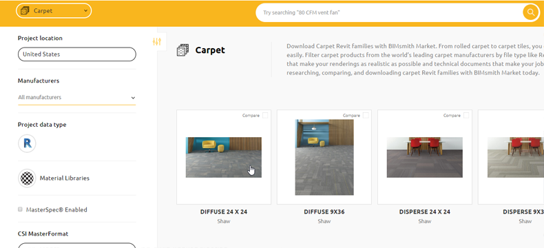 Download Carpet Revit Materials with BIMsmith