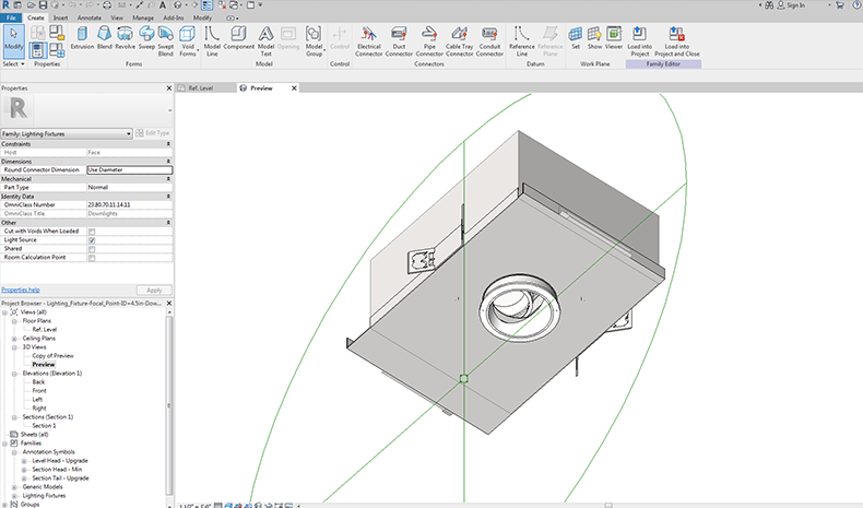 Focal Point Lights Revit Project Featuring Downlights